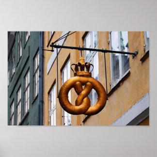 Crowned Pretzel in Copenhagen Poster