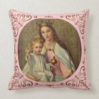 Crowned Queen of Heaven Infant Jesus holding Globe Cushion