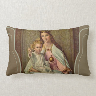 Crowned Queen of Heaven Infant Jesus holding Globe Lumbar Cushion