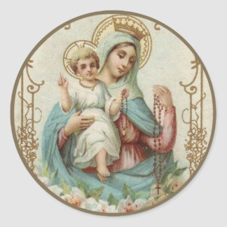 Crowned Queen of Heaven Infant Jesus w Rosary Classic Round Sticker