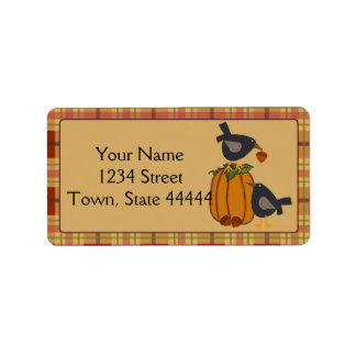 Crows, Acorns and Pumpkin Thanksgiving Labels