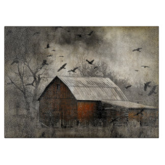 Crows And Old Barn Cutting Board