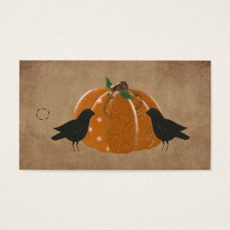 Crows and Pumpkin Primitive Hang Tag