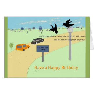 Crows At A Car Boot Sale. Birthday Card