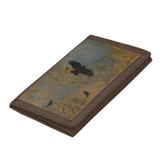 Crows Fly Above The Vintage Map Trifold Wallets