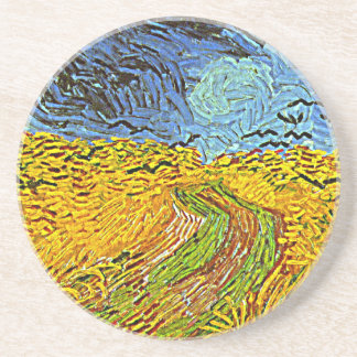 Crows in a Wheatfield Sandstone Coaster