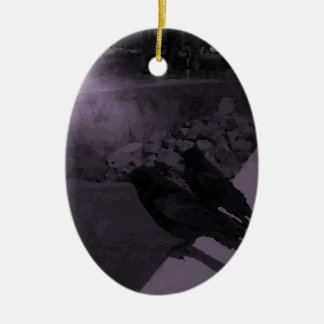 Crows in black and white ceramic oval decoration