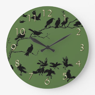 Crows Large Clock