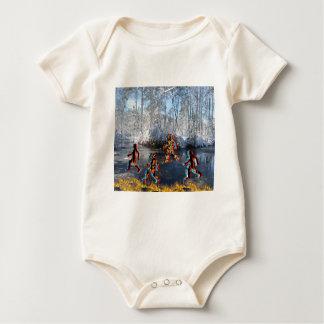CRPS RSD FIre & Ice FIgures on Frozen NC Landcape Baby Bodysuit