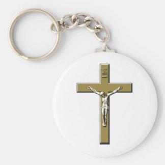 Crucifix in Bronze Basic Round Button Key Ring