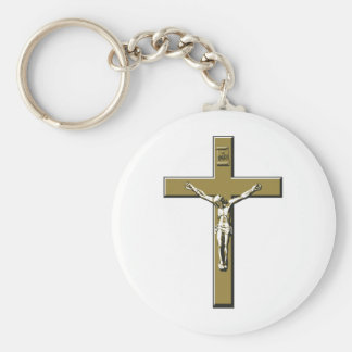 Crucifix in Bronze Key Ring