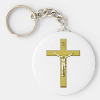 Crucifix in Gold Basic Round Button Key Ring