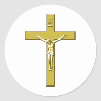 Crucifix in Gold Classic Round Sticker