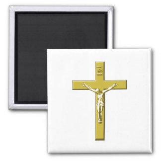 Crucifix in Gold Refrigerator Magnet