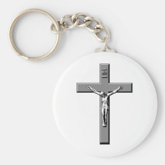 Crucifix in Silver Basic Round Button Key Ring