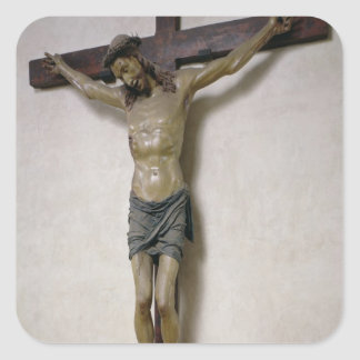 Crucifix (polychrome wood) square sticker