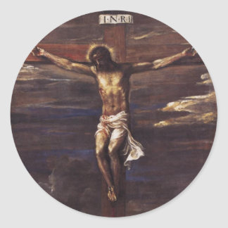 Crucifixion Classic Round Sticker