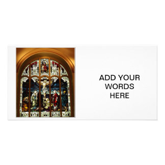 Crucifixion - Jesus on The Cross - Stained Glass Customized Photo Card
