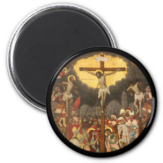 Crucifixion  Scene 1711 6 Cm Round Magnet