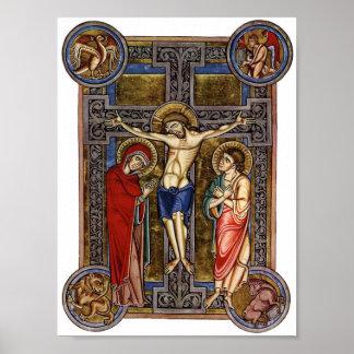 Crucifixion Weingarten Missal 13th century Poster