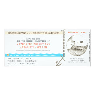 "cruise boarding pass save the date design 4"" x 9.25"" invitation card"