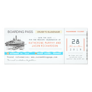 cruise boarding pass save the date tickets card