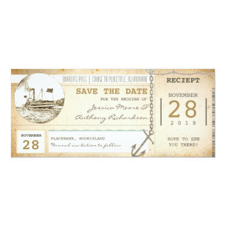 cruise boarding pass tickets for save the date card
