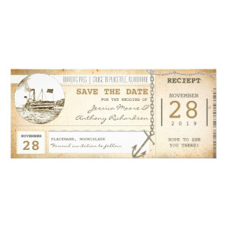 cruise boarding pass tickets for save the date invites