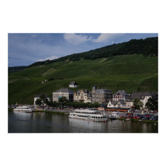 Cruise boat on Mosel River, Bernkastel Kues, Germa Poster