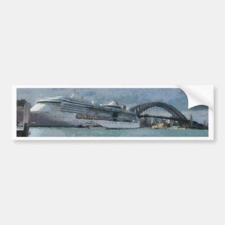 Cruise liner and Sydney Harbour bridge Bumper Sticker