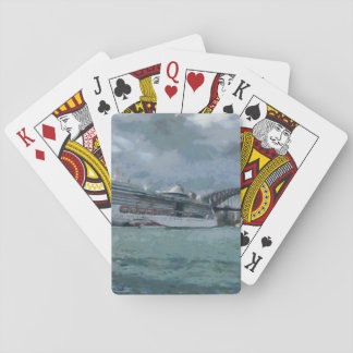Cruise liner and sydney harbour bridge card decks