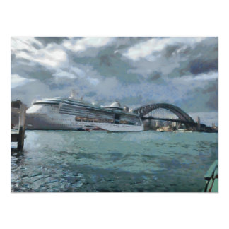 Cruise liner and Sydney Harbour bridge Art Photo