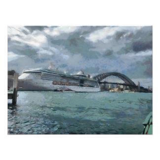 Cruise liner and Sydney Harbour bridge Photograph