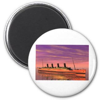 Cruise ship 6 cm round magnet