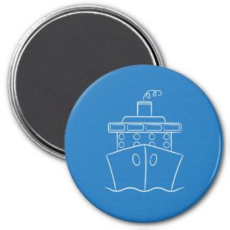 Cruise ship 7.5 cm round magnet