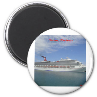 Cruise ship anchored in Roatan, Honduras 6 Cm Round Magnet