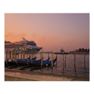 Cruise Ship and Gondolas near Grand Canal, Italy Poster