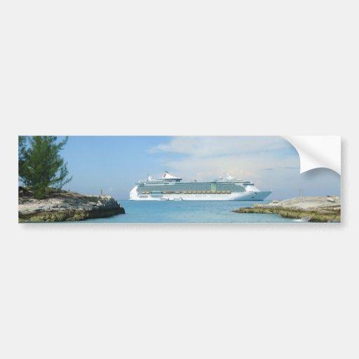Cruise Ship at CocoCay Bumper Sticker