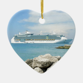 Cruise Ship at CocoCay Ceramic Ornament
