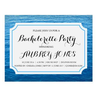Cruise Ship at Sea Bachelorette Party Invite Postcard
