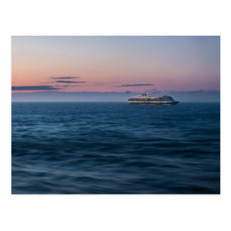 Cruise Ship at Sunset Postcard