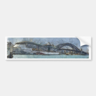 Cruise ship below Sydney Harbour Bridge Bumper Sticker