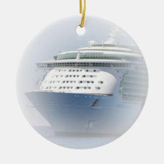 Cruise Ship Cameo Ceramic Ornament