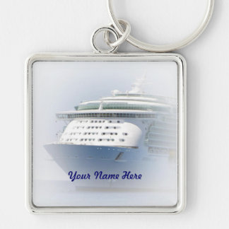 Cruise Ship Cameo with Name Key Ring