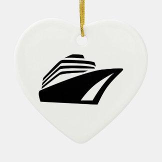 Cruise ship ceramic ornament