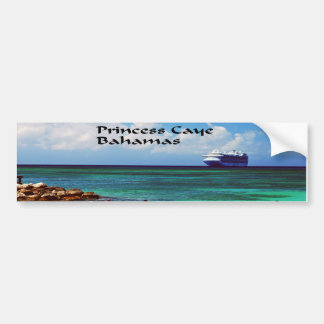 Cruise ship docked at a tropical exotic island bumper sticker