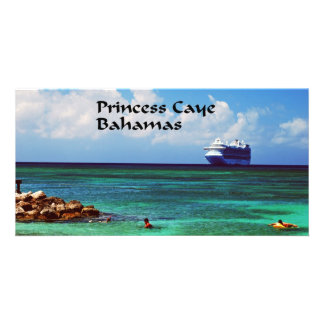 Cruise ship docked at a tropical exotic island customised photo card