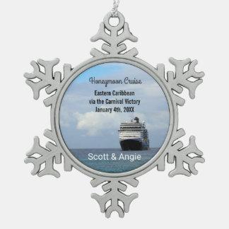 Cruise Ship | Honeymoon Personalized Pewter Snowflake Decoration