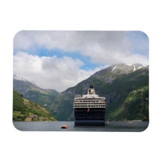 Cruise ship in Geirangerfjord rectangular magnet