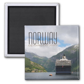 Cruise ship in Geirangerfjord text magnet